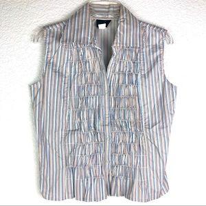⛱ NWOT Sleeveless Accordion Style Cotton Shirt, M